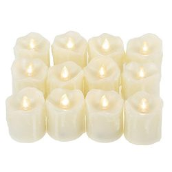 Qidea Battery Operated Flameless LED Votive Candles with Timer Drips Flickering Electric Decorat ...