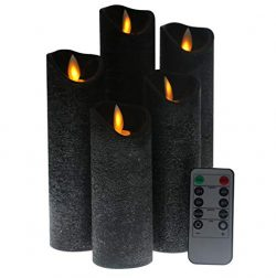 Kitch Aroma Black flameless Candles, Battery Operated LED Pillar Candles with Moving Flame Wick  ...