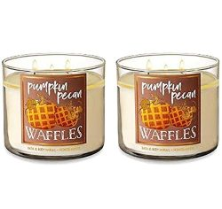 Bath & Body Works Pumpkin Pecan Waffles Candle 3 Wick 14.5 oz/411g – Pack of 2