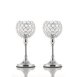 VINCIGANT 2PCS Silver Crystal Candle Holders/Candlesticks for Valentines Day Wedding Anniversary ...