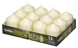 BOLSIUS Tray of 12 Ivory Wedding Party Pillar Candles 78 x 58 mm (aprox 3 x 2.3 inch)