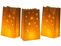 White Paper Luminary Bags – 24-Pack Candle Lantern Bags, Fire-Retardant, Star Luminaries f ...