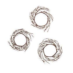 LampLust Spring Pillar Candle Rings – White Pip Berries on Brown Wreath, Fits 3 Inch Pilla ...