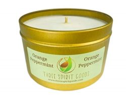 8 oz Gold Orange/Peppermint Candle – Clean Burning Soy Wax, Pure Essential Oils Scented, O ...
