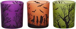 Pavilion – Halloween Themed Set of 3 Glass Tealight Candle Holders, 3 Inch