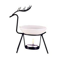 Orcbee  _Stainless Steel Deer Burner Candle Aromatherapy Oil Lamp Decorations Aroma Furnace (Black)