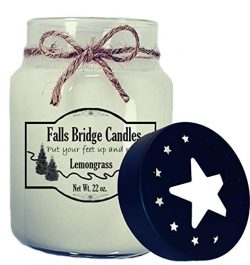 Falls Bridge Candles Lemongrass Scented Jar Candle, 22-Ounce, w/Star Lid