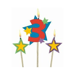 Amscan Birthday Celebration, #3 Decorative Pick Candles, Party Supplies, Multicolor, 7″ 3ct