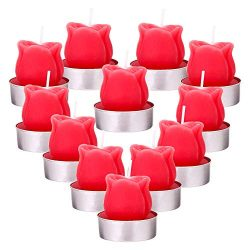 DaveandAthena 12 Pieces Rose Tealight Candles Handmade Delicate Rose Flower Candles for Valentin ...