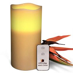 LED Lytes Flameless Candles Flickering – ONE Ivory Wax Amber Yellow Flame Pillars Battery  ...