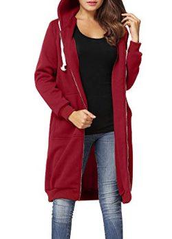 Romacci Women's Casual Zip up Hoodies Pockets Tunic Sweatshirt Long Hoodie Outerwear Jacke ...