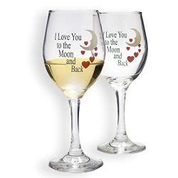 BANBERRY DESIGNS – Set of 2 Wine Glasses – I Love You to the Moon and Back Design wi ...