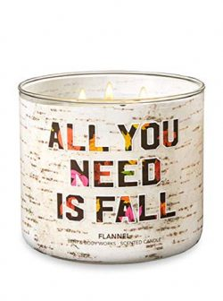 "Bath & Body Works ""ALL YOU NEED IS FALL 3-Wick Candle in FLANNEL Scent"