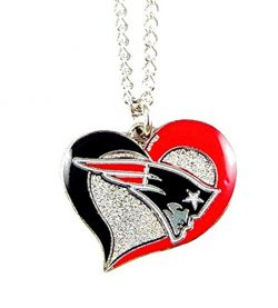 aminco NFL New England Patriots Swirl Heart Necklace