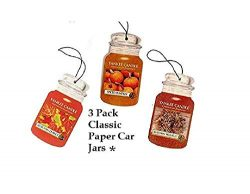 Yankee Candle Fall Favorites Classic Paper- Set of Three Car Jars Autumn Leaves, Autumn Wreath,  ...