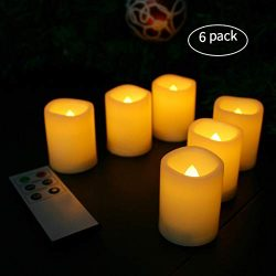 Candle Choice Flameless Votive Candles Battery Operated Timer LED Candles with Remote (Votive 6PCS)