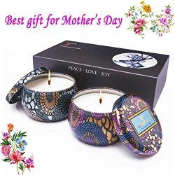 【Mother's Day】Scented Candles Gift Set of 2 Pack 100% Natural Soy Wax in White Tea & ...