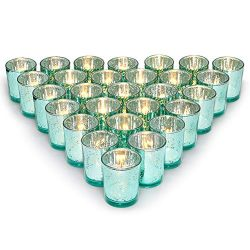 Letine Glass Votive Candle Holders Set of 36 – Speckled Mercury Aquamarine Tealight Candle ...