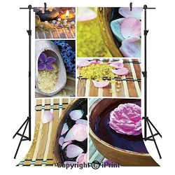 Spa Photography Backdrops,Spa Organic Cosmetics Theme Wooden Bowl Petals Lavender Candle Pebbles ...