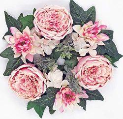 ES ESSENTIALS Pink Cabbage Rose Dahlia Hydrangea Wreath Spring Summer 14″, 6″ Candle ...
