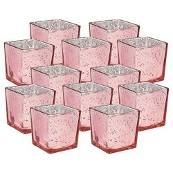 Just Artifacts Mercury Glass Square Votive Candle Holder 2″ H (12pcs, Speckled Blush)