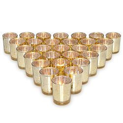 Letine Gold Votive Candle Holders Set of 36 – Speckled Mercury Gold Glass Tealight Candle  ...