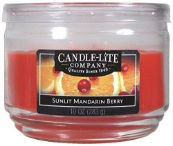 Candle-Lite Everyday Scented Sunlit Mandarin Berry 3-Wick Jar Candle, 10 oz, Orange