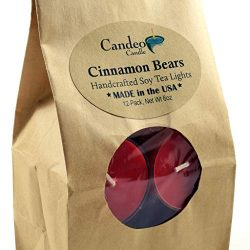 Cinnamon Bear, Holiday Scented Soy Tealights, 12 Pack Clear Cup Christmas Candles