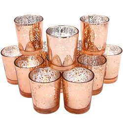 Glass Votive Candle Holders 2.64 Inches H (Set of 12, Speckled Rose Gold) – For Use with T ...