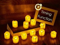 LED Flameless Votive Candles with Timer, 6 Hours on and 18 Hours Off – Battery Operated Ca ...