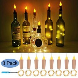 Flame Cork Lights for Wine Bottle,8 Pack Battery Operated LED Candle Flameless Tealight Cork Fai ...