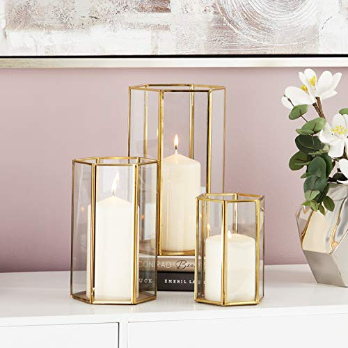 CosmoLiving by Cosmopolitan 57378 Large Modern Metallic Gold Metal & Glass Candle Holders wi ...