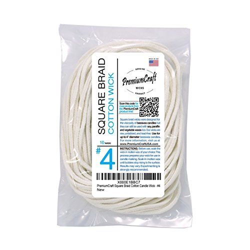 PremiumCraft Square Braid Cotton Candle Wick – #4