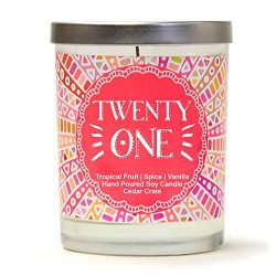 Twenty One | Tropical Fruit, Spice, Vanilla | Luxury Scented Soy Candles | 10 Oz. Jar Candle | M ...