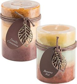 Fall Scented Candles Set Bundle of 2 Decorative Layered Pillar Candles 3 x 4 Inches (Cinnamon Va ...