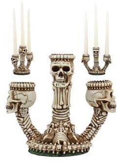 Ebros Gothic Trio Ossuary Graveyard Skulls and Skeleton Bones Candelabra Candle Holder Statue Wi ...