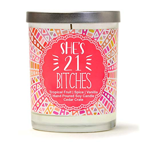 She's 21 | Tropical Fruit, Spice, Vanilla | Luxury Scented Soy Candles | 10 Oz. Jar Candle ...