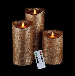 Luminara Flameless Candles,Gold Flameless Candles,Flameless Candles Flickering,Flameless Pillar  ...
