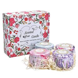 [4 Pack] Scented Candles Gift Set [Lavender, Rose, Lemongrass, Jasmine], a Travel and Business E ...