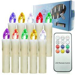 【Timer Multi-Colored 10 Pcs】 Indoor and Outdoor LED Window Flameless Taper Candles Flickering  ...