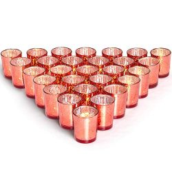 Letine Glass Votive Candle Holders Set of 36 – Speckled Mercury Coral Tealight Candle Hold ...