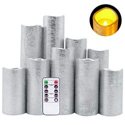 DRomance LED Flameless Flickering Candles Battery Operated with Remote and Timer, Set of 9 Silve ...