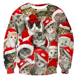 RAISEVERN Teen Girls Christmas Cat in Space Sweatshirt Hipster Stylish Sweater Jumper Clothing,  ...