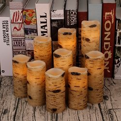 Antizer Flameless Candles Battery Operated Candles Birch Bark Effect 4″ 5″ 6″  ...