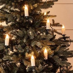 Lights4fun, Inc. 30 Warm White LED Jumbo Flameless Christmas Candle Indoor String Lights with Tr ...