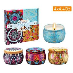 Scented Candles Gift Set, Natural Soy Wax Portable Travel Tin Candle Women Gift, Spring, Lemon,  ...