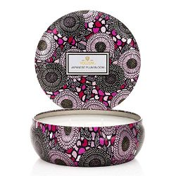 Voluspa Japanese Plum Bloom 3 Wick Candle Tin, 12 Ounce