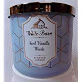 Bath and Body Works White Barn Iced Vanilla Woods 3 Wick Candle 14.5 Oz Winter 2018