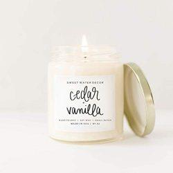 Cedar and Vanilla Natural Soy Wax Candle Cedarwood Pine Vanilla Summer Fall Winter Scent Gluten  ...