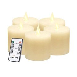 smtyle 3×3 Pillar Candles for Fireplace Candelabra or Desk Decor Flickering Led Light with  ...